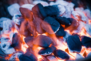 burning and glowing hot charcoal