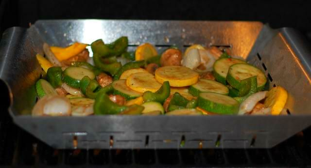 Veggies in the grill basket