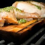 pesto chicken on a cedar plank