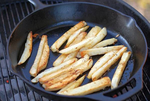 French fries on the grill
