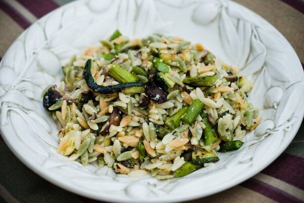 Grilled vegetables with orzo