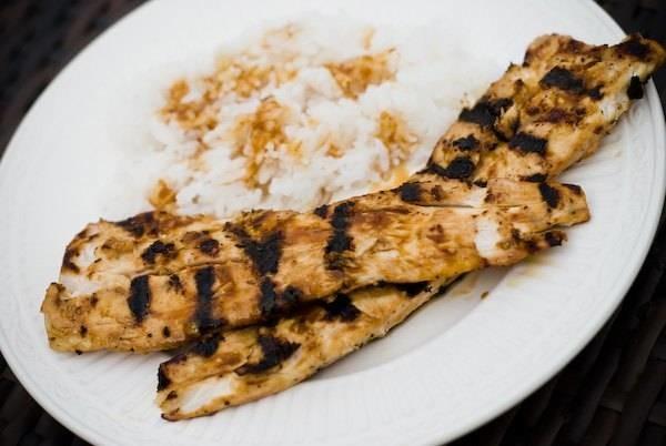 Grilled mahi mahi and rice