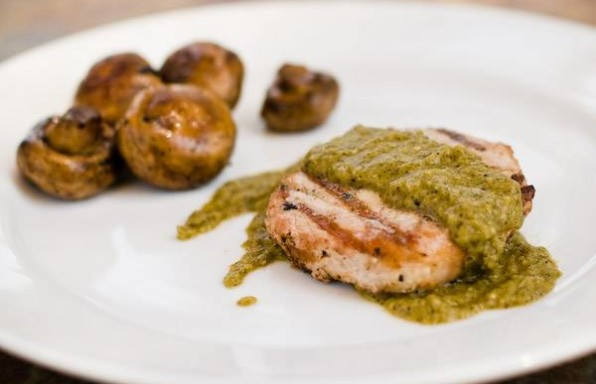 Boneless Pork Chop with Tomatillo Sauce