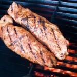 Dry rubbed pork tenderloin on the grill