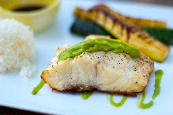 Red Snapper with Wasabi Avocado Sauce