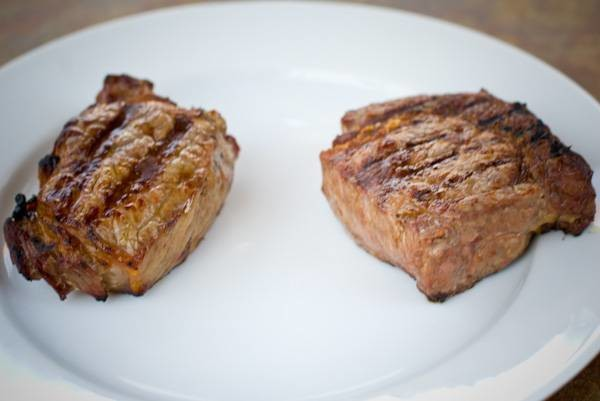 two steaks on a plate