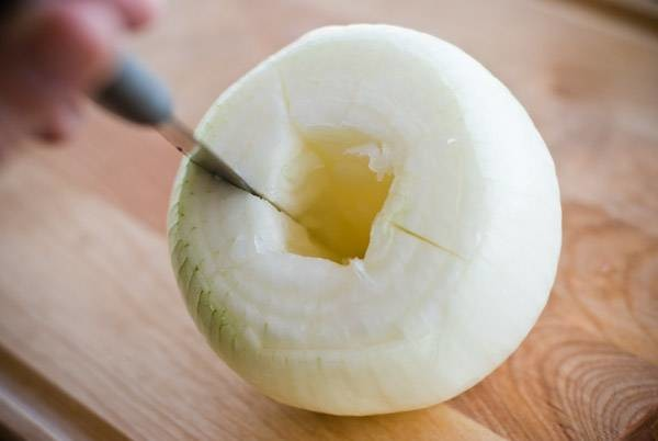 Hollowed and sliced onion