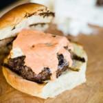 Feta and red pepper aioli burger
