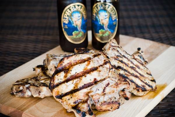 Grilled pork chops and Ephemere Apple Beer