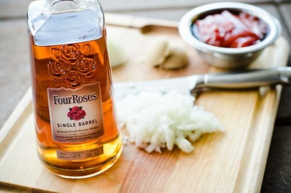 bourbon, onions and other barbecue sauce ingredients