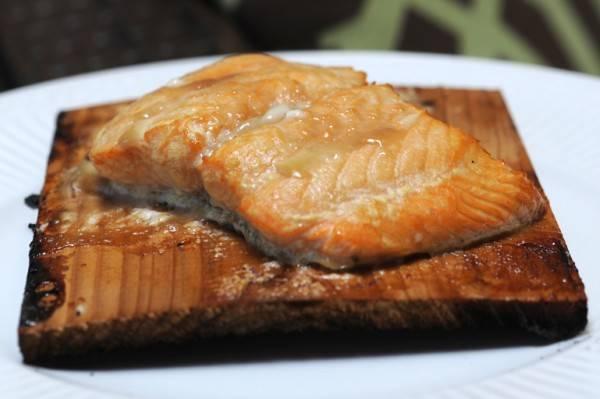 Maple bourbon salmon on a cedar plank