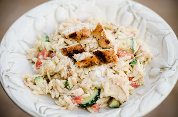 Grilled chicken, goat cheese and orzo