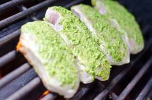 Wet rubbed basil pork chops on the grill
