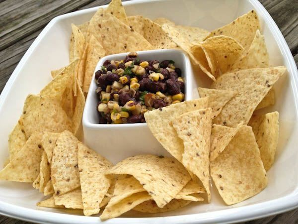 Grilled corn and bean salsa with chips