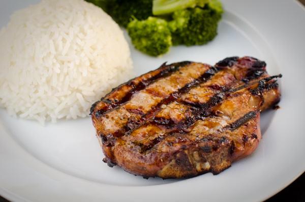 grilled teriyaki pork chop