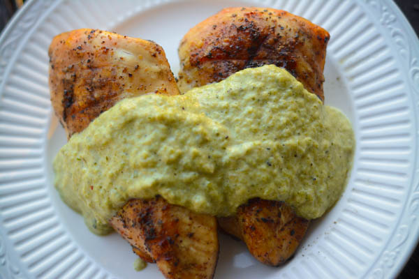 chicken with poblano sauce